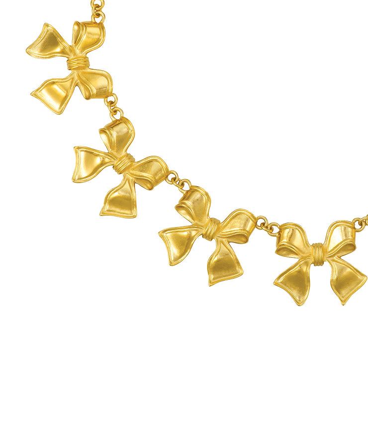 Golden Garland Bow Necklace