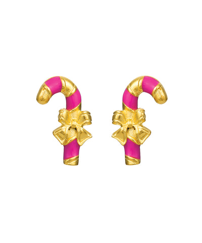 Sweet Candy Cane Earrings (Pink)