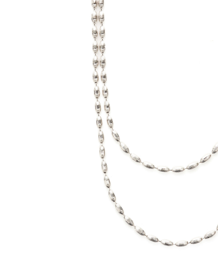 Charleston Rice Bead Necklace (Shiny Silver)