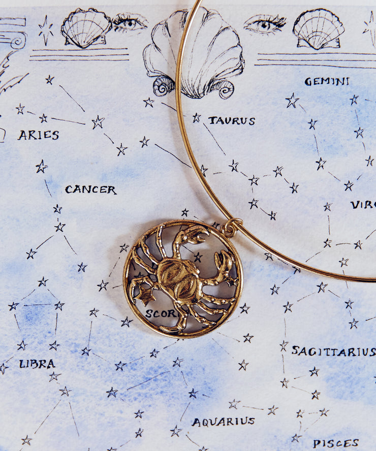 70s Inspired Zodiac Necklace (Cancer)