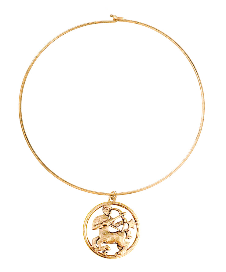 70s Inspired Zodiac Necklace (Sagittarius)