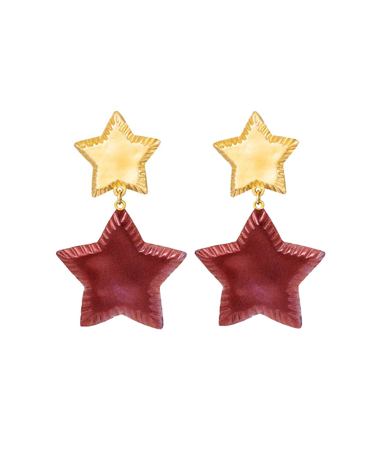 Starry Night Earrings (Cranberry Shimmer)