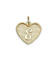 (E) Heart Initial Charm in Three Finishes