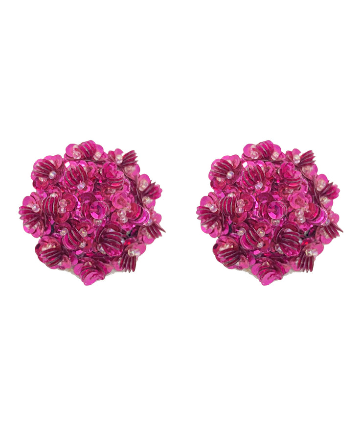 Vintage Sequin Floral Earrings