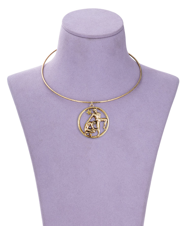 70s Inspired Zodiac Necklace (Gemini)