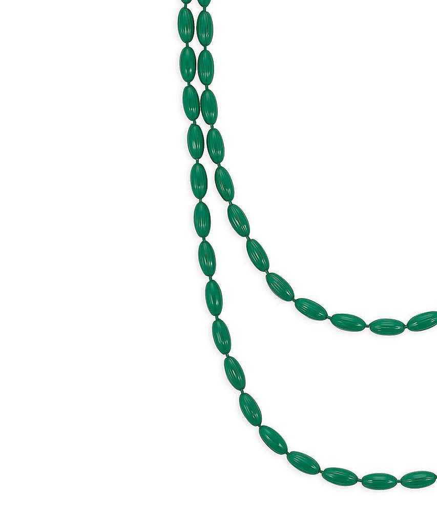 Charleston Rice Bead Necklace (Kelly Green)