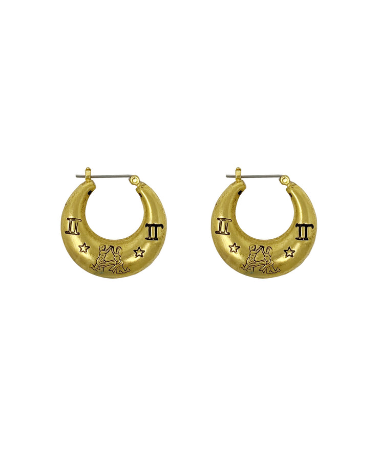Zodiac Mini Hoop Earrings (Gemini)