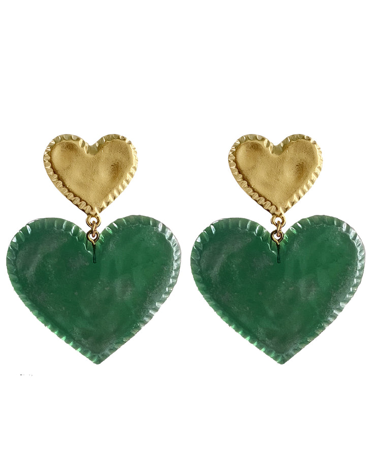 Candy Heart Earrings (Garden Green)