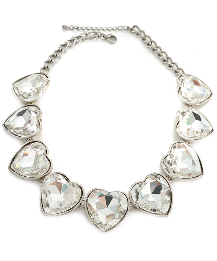 Vintage Heart Rhinestone Collar Necklace