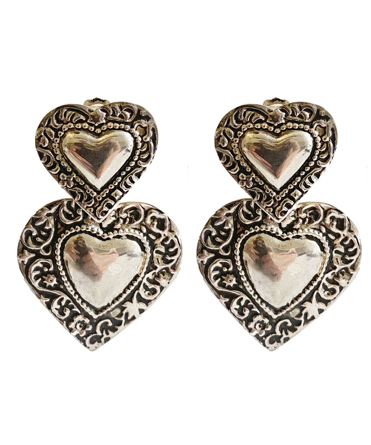 Vintage Hammered Silver Heart Earrings