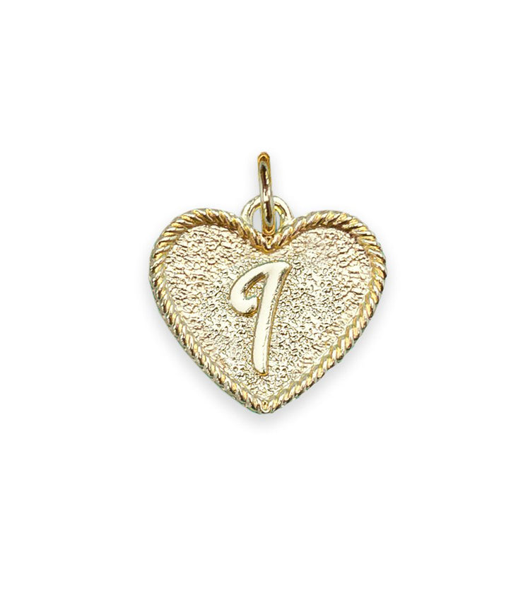 (I) Heart Initial Charm in Three Finishes