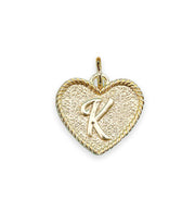 (K) Heart Initial Charm in Three Finishes