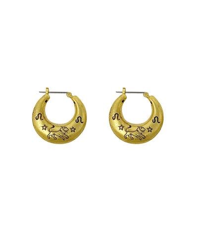 Zodiac Mini Hoop Earrings (Leo)