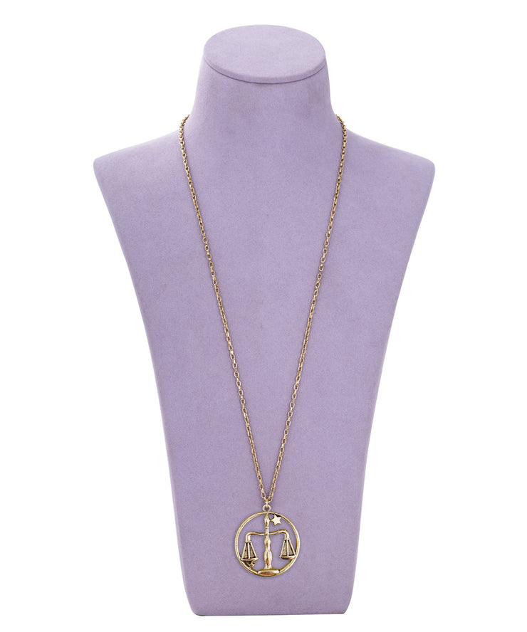 70s Inspired Zodiac Necklace (Libra)