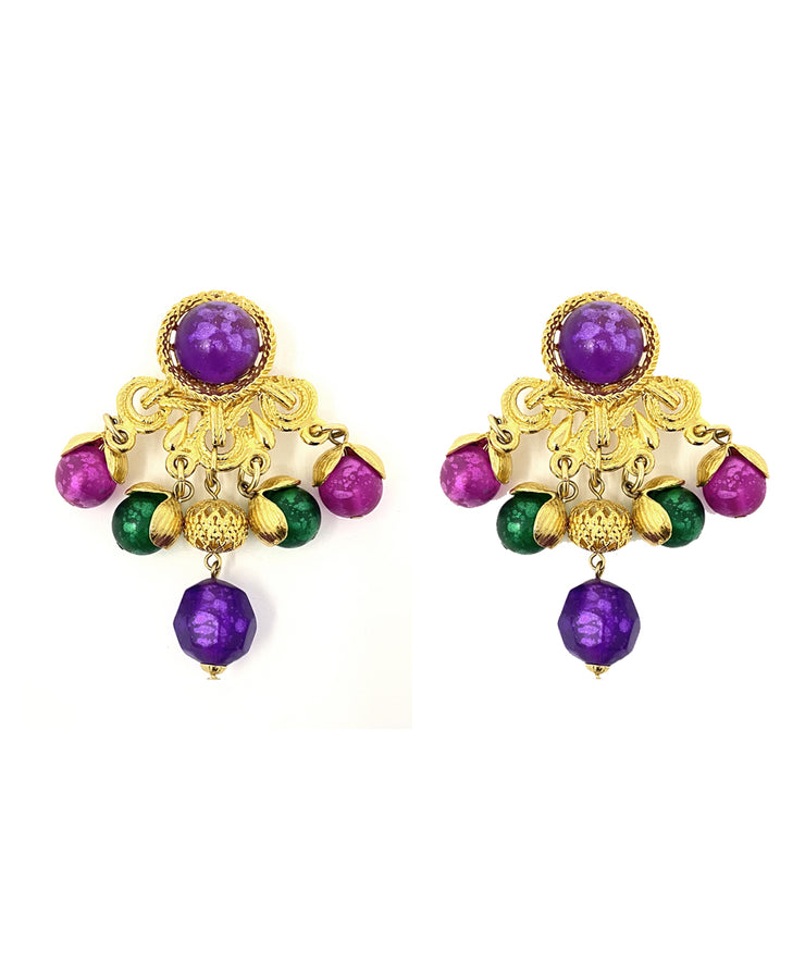 Vintage Mardi Gras Hued Earrings