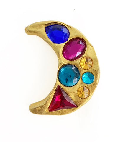 Vintage Bejeweled Crescent Moon Brooch