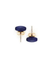 Rice Bead Stud Earrings (Navy)