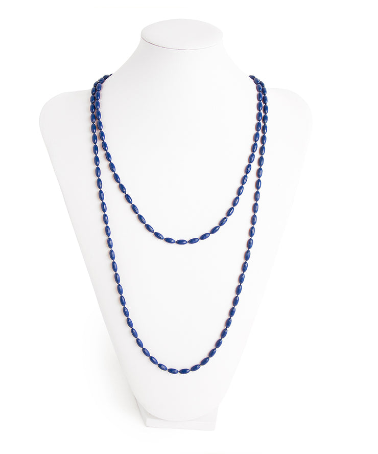 Charleston Rice Bead Necklace (True Navy)