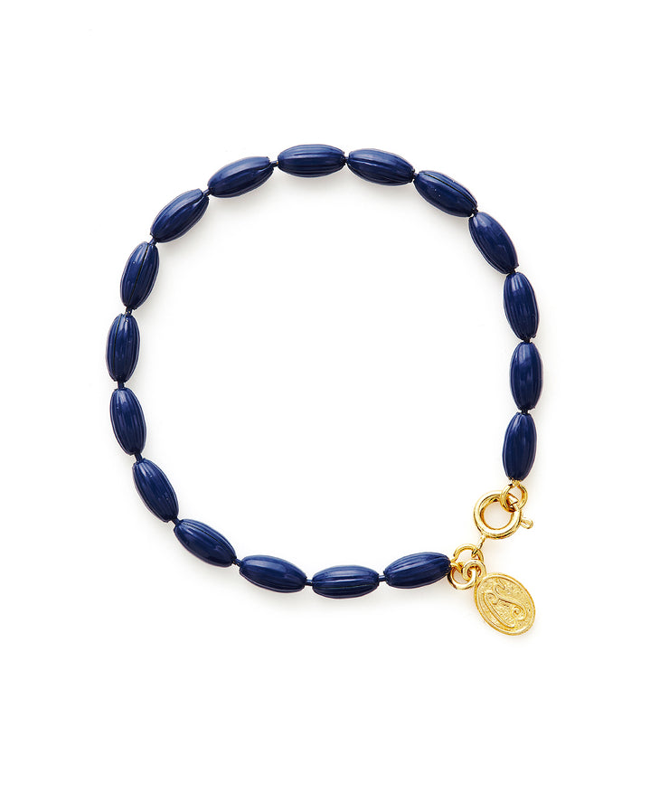 Charleston Rice Bead Bracelet (True Navy)