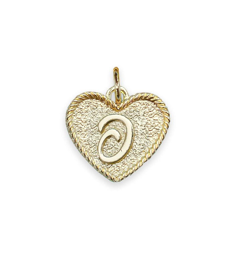 (O) Heart Initial Charm in Three Finishes