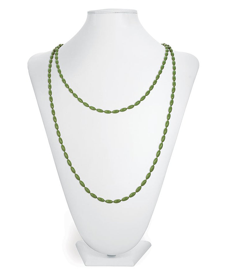 Charleston Rice Bead Necklace (Olive)