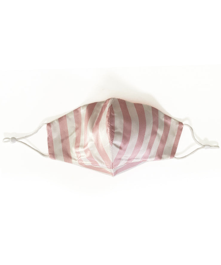 Silk Face Mask (Pink & White Striped)