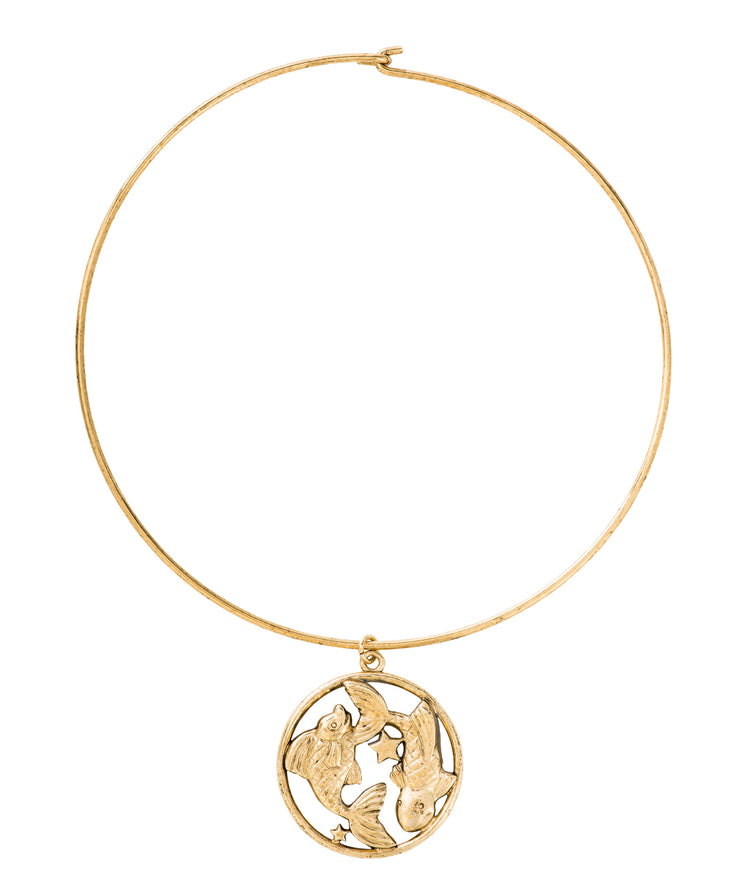 70s Inspired Zodiac Necklace (Pisces)