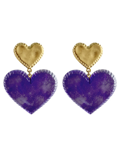 Candy Heart Earrings (Grape)