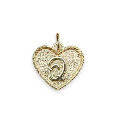 (Q) Heart Initial Charm in Three Finishes