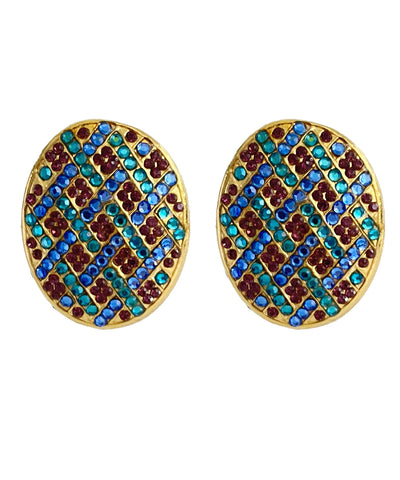 Vintage Multi-Colored Rhinestone Earrings