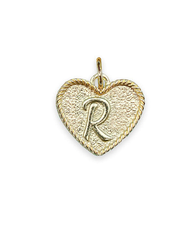 (R) Heart Initial Charm in Three Finishes