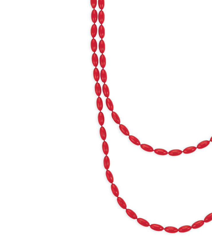 Charleston Rice Bead Necklace (Ruby Red)