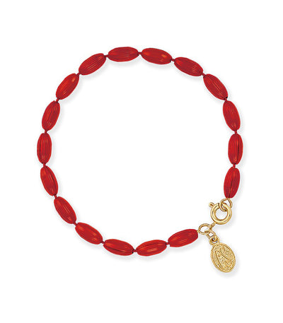 Charleston Rice Bead Bracelet (Cranberry Red)