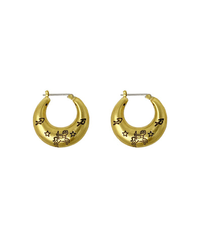 Zodiac Mini Hoop Earrings (Sagittarius)
