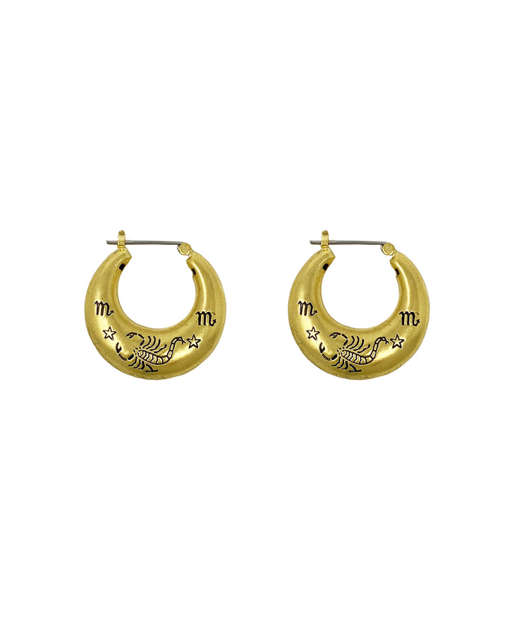 Zodiac Mini Hoop Earrings (Scorpio)