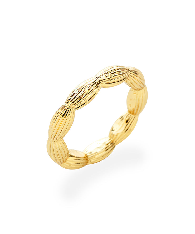 Stackable Rice Bead Ring (Shiny Gold)