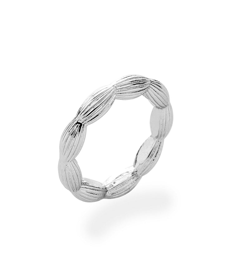 Stackable Rice Bead Ring (Shiny Silver)
