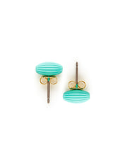 Rice Bead Stud Earrings (Turquoise)