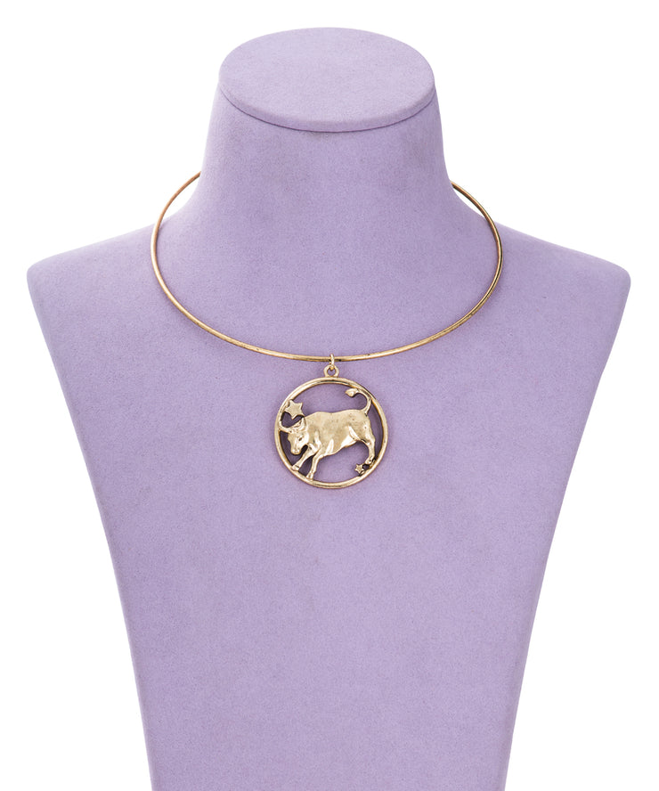 70s Inspired Zodiac Necklace (Taurus)