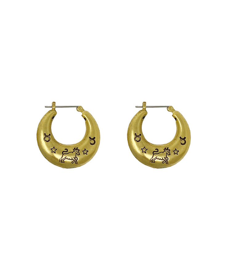 Zodiac Mini Hoop Earrings (Taurus)