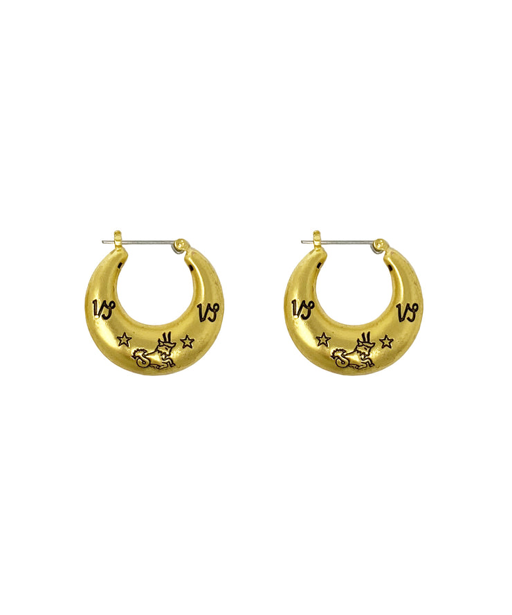 Zodiac Mini Hoop Earrings (Capricorn)