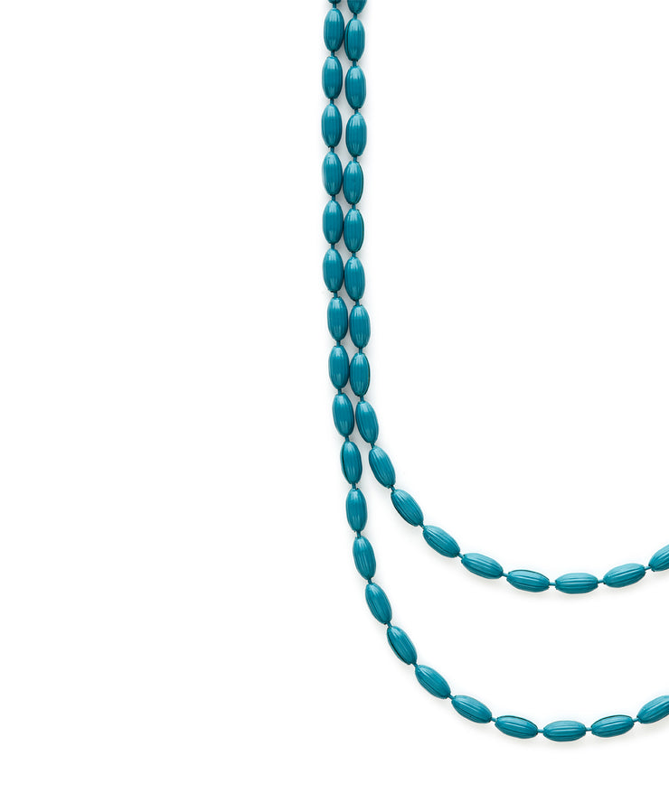 Charleston Rice Bead Necklace (Teal)