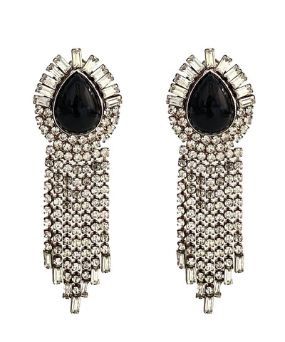 Vintage Rhinestone Teardrop Earrings