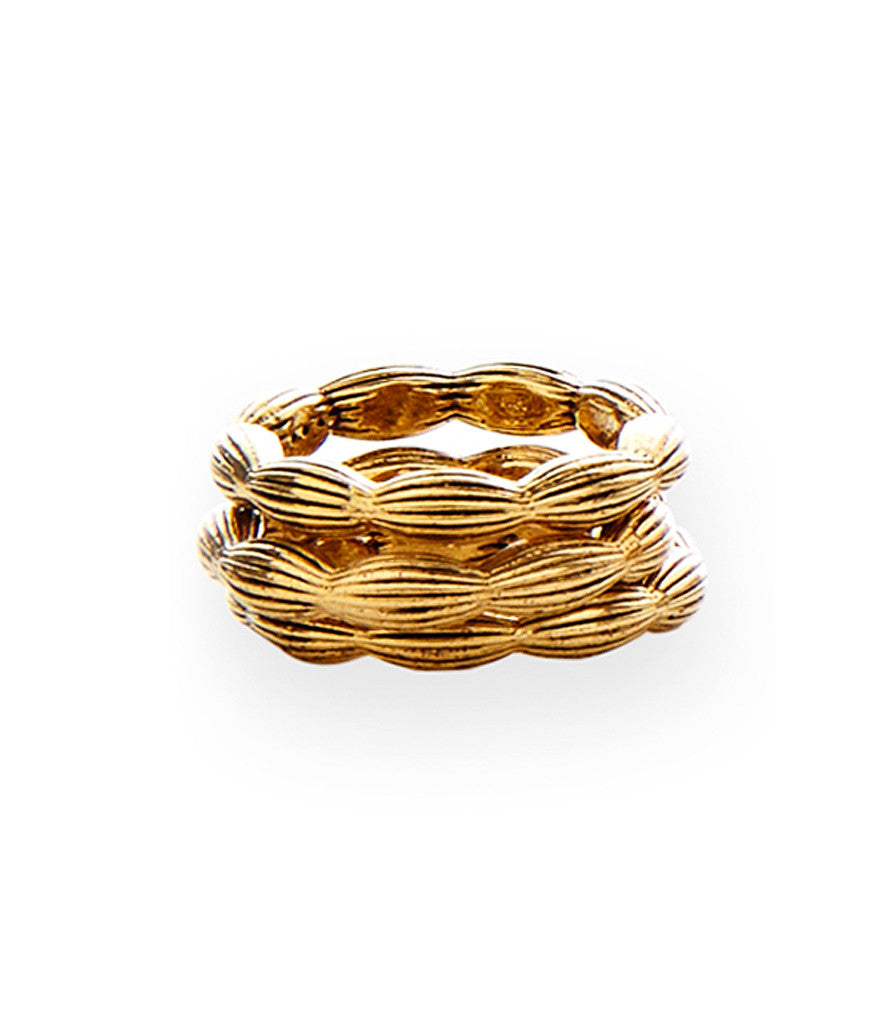 Charleston Rice Bead stackable Ring in vintage gold
