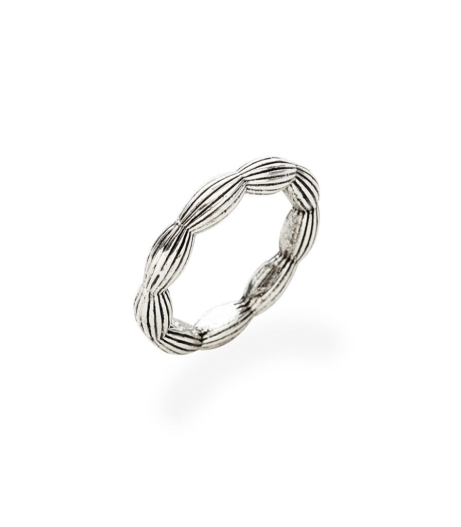 Charleston Rice Bead stackable Ring in vintage silver