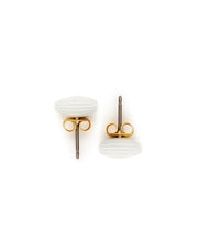 Rice Bead Stud Earrings (Bright White)