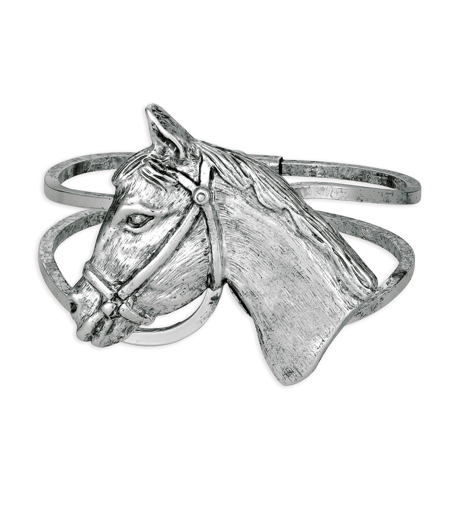 Hold Your Horses Bangle (Vintage Silver)