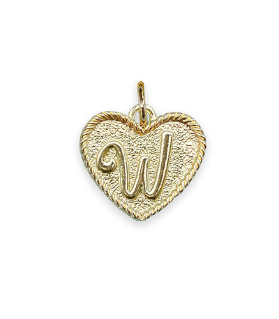 (W) Heart Initial Charm in Three Finishes