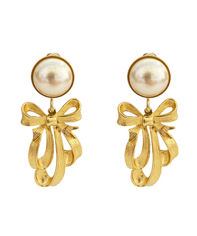 Vintage Pearl Earrings With Bow Accents