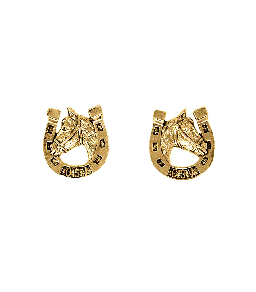 Lucky Horseshoe Earrings (Vintage Gold)